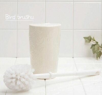鳥の模様いが、可愛い『トイレブラシ』アイボリー陶器製陶器製【RCP】