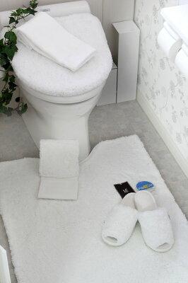 高級トイレタリーコレクションふぁふぁ気持ちいい大きい『胴長トイレマット』真っ白エスタルトシャギー大人色(トイレマット/ToiletMatSet)/北欧/カバー