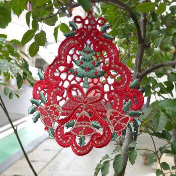 あす楽★リースやティマット窓の飾りにも『ツリーなドイリー』クリスマスプレゼント交換やビジュを付けてクリスマスツリーやパッチワーク等の手芸にも