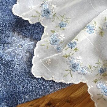 あす楽★送料無料★ブルーロース『カフェカーテン』【縦45cm】半透明のオフホワイトの生地に薄色ブルーローズの刺繍濃すぎない優しいブルー
