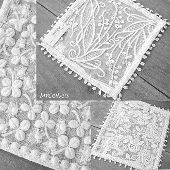 刺繍が、綺麗『タオルハンカチ』コーラルピンクドイリーとしてテーブルにも