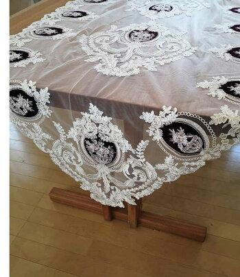 あす楽ノーブルなテーブルランナー『テーブルクロス』ボルドー別珍生地とゴールド刺繍アラベスク豪華チュールウェディングレース母の日