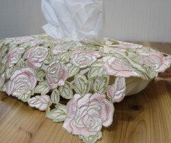 Newあす楽『ティッシュカバー』ティッシュケースかわいいおしゃれピンクレース花柄上品ゴージャスリビング寝室バラローズ薔薇