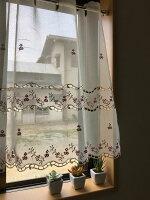 人気の小花刺繍★【縦60cm★送料無料】可愛いくてお手入れ簡単半透明の『カフェカーテン』アミプチ赤い小花が、気持ちを柔らげてくれるカフェカーテン小窓お手入れ簡単セミロング【HLS_DU】