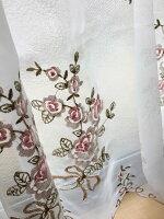 【送料無料】60cm丈セミロング『カフェカーテン』薔薇の刺繍ローズカットワークレース半透明ボイル生地ラウンドスタイルでエレガント【HLS_DU】
