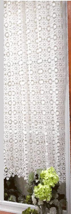 ★細窓サイズ出来ました!全て自社検品で出荷【送料無料】【縦130cm】 自由にサイズ調整 真っ白ギュピールお花がいっぱい北欧 『カフェカーテン』細窓ロング アイセレクト