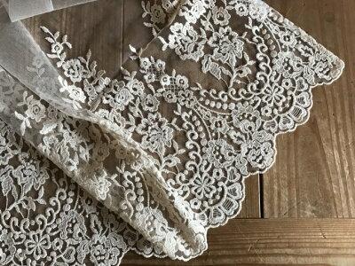 ★【縦60CM】人気のアラベスク模様アイボリーで今までに無い刺繍たっぷりおしゃれなレース『カフェカーテン』小窓用セミロング【HLS_DU】