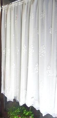 あす楽★エアコン対策★送料無料『カフェカーテンBタイプ』【縦135cm】2重目隠し★少しバニラカラーの2重でお手頃価格なのにとっても長い、上質とってもロング小窓用のれんにも