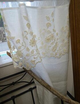 オリジナル細窓 縦長『カフェカーテン』約巾40x70cmホワイトリネン(麻)に ベージュ色の人気のチュールレースをあしらいました 2枚でのれんにも HM