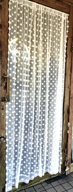 間仕切り送料無料のれんの代わりカーテンにも『ロングカフェカーテン』縦約180cmとっても長い水玉ドットアイボリー