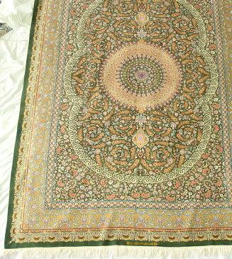 ペルシャ絨毯 サイズ:296×202 産地:クム 作者:アーマディ 材質:シルク【送料無料】【同梱不可】【RCP】【店頭受取対応商品】