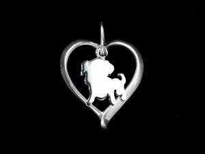 【パグ】材質シルバードッグモチーフのネックレス(プレゼント,ドッグネックレス,愛犬ネックレス,…