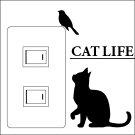 ウォールステッカーCATLIFE(キャットライフ)鳥発見【スイッチ/猫/楽天/動物/壁シール/アニマル】【おすすめ】【お得】【犬や猫を買っているペット好きな方に買って頂きたい】【プレゼントにもどうぞ】【7月中は送料無料】