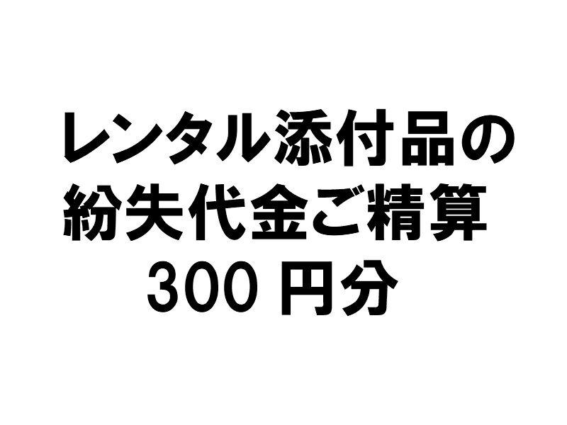 【レンタル添付品の紛失代金ご精算300円分】【現在レンタルされている方が対象です】●このお申込みは、弊社に確認後お願いします。●