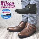 防水機能/Wilson(ウイルソン)3E/ビジネス/ショートブーツ/モンクストラップ/マジックテープ/ No192