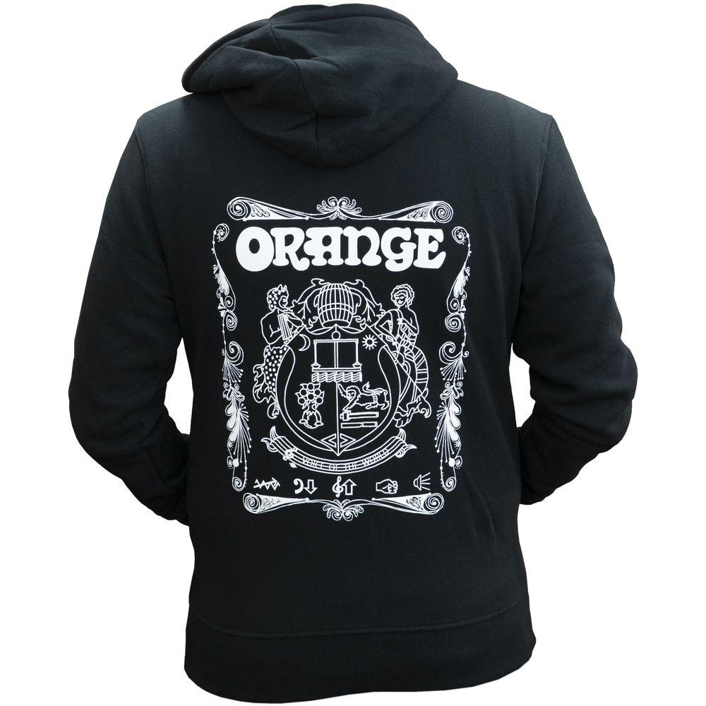 トップス, パーカー ORANGE Hoodie with Crest and Logo Black M smtb-TK