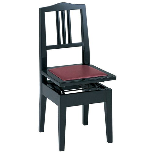 甲南 No.6 (本体:黒/座面:エンジ) ピアノイス 背もたれ付高低自在ピアノ椅子 トムソン椅...