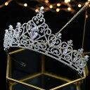ジルコニア ティアラ ハート シルバー 豪華 ビジュー 可愛い ヘッドピース ヘアアクセサリー 結婚式 ウェディング ブライダル コーム 和装 髪飾り 花冠 1