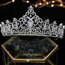 ジルコニア ティアラ ハート シルバー 豪華 ビジュー 可愛い ヘッドピース ヘアアクセサリー 結婚式 ウェディング ブライダル コーム 和装 髪飾り 花冠 3