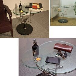 強化ガラス製サイドテーブルガラステーブル飾り台ベッドサイドテーブルソファサイドテーブル天然大理石土台♪