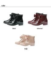 [送料無料]フロントリボンショートレインブーツ/ラバーブーツ/レインシューズ/ゴム長靴/雨靴/ガーデニングブーツ/レディース/レインブーツ/スノーブーツ/