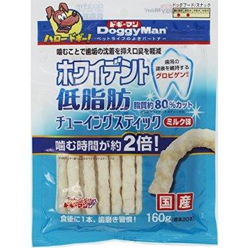 ドギーマン ホワイデント 低脂肪 チューイングスティック ミルク味 160g