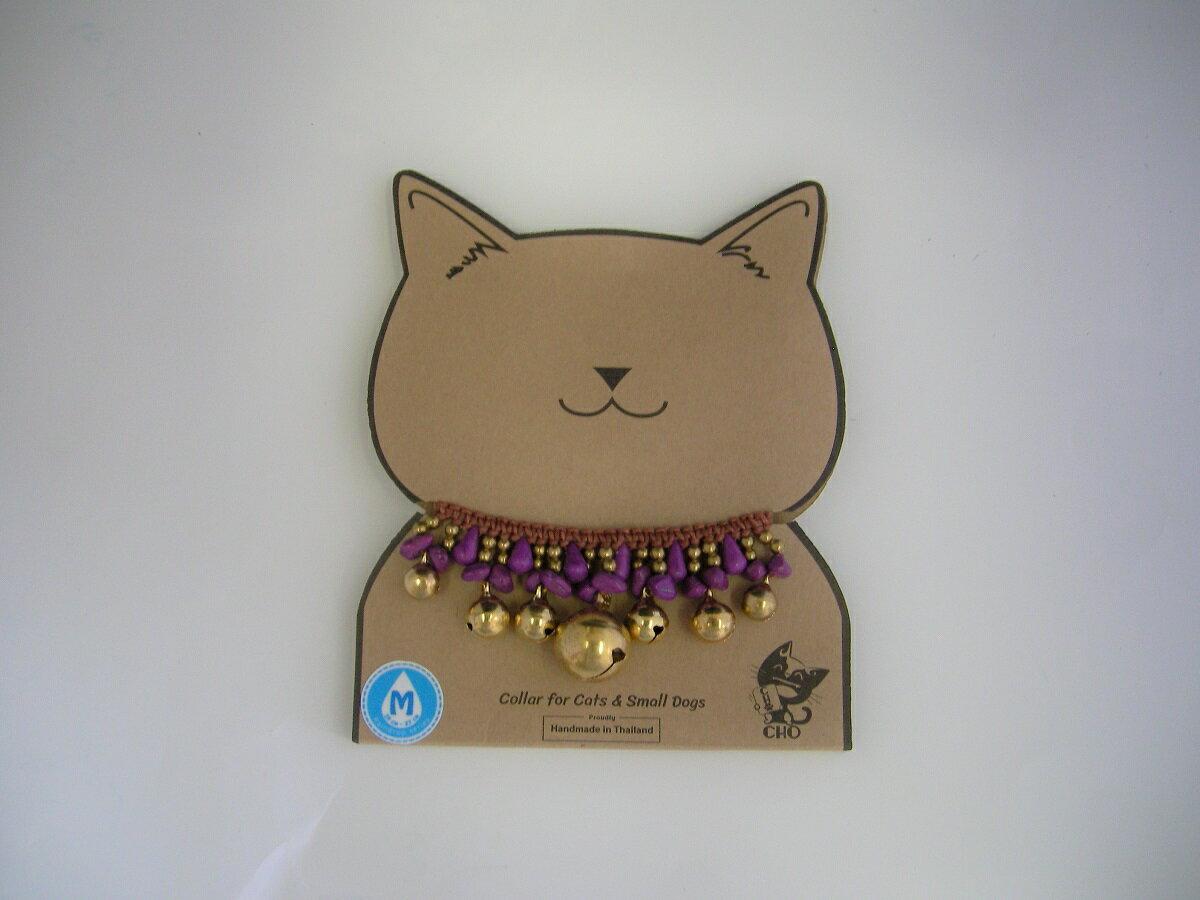 【!!メール便対応商品・メール便の場合同梱不可】猫首輪 CHOペットカラー ゴールド/バイオレット S
