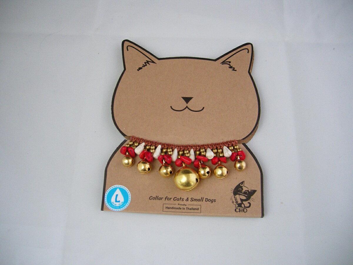 【!!メール便対応商品・メール便の場合同梱不可】猫首輪 CHOペットカラー ゴールド/レッド/ホワイト M