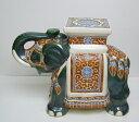 象の置物 陶器製 グリーン SL100 GREEN〈br〉インド料理店...