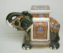象の置物 陶器製 グリーン&イエロー SL100 GREEN&YELL...