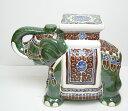 象の置物 陶器製 グリーン SL100 GREEN&BROWN〈br〉...