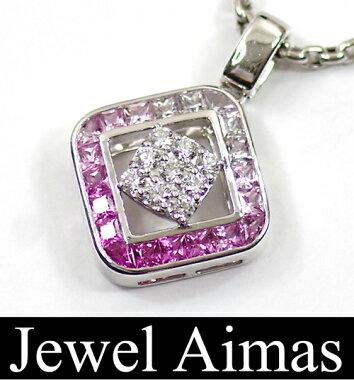 【Jeunet】ジュネK18WGピンクサファイア2.30ctダイヤモンド0.43ctネックレスグラデーションスクエアスライドアジャスター【】