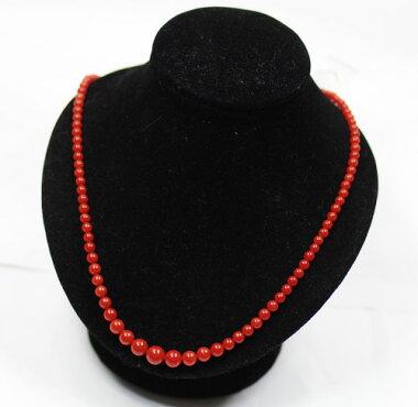 【ジュエリー】赤珊瑚3.0mm-7.3mm玉13.3gネックレス赤サンゴ赤さんごシルバー【】