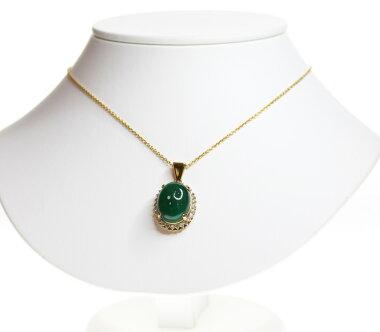 【ジュエリー】カボションエメラルド14.96ctダイヤモンド0.7ctネックレスK18YG【】ZPY