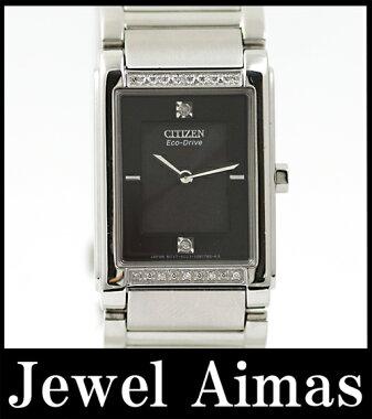 【CITIZEN】シチズンエコドライブBL6060-53Eダイヤモンド黒文字盤電波時計メンズ/レディース腕時計【】