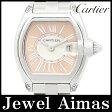 【Cartier】カルティエ ロードスター SM 2500本限定 W62054V3 2675 ミニ ホワイト サーモンピンク オレンジ 文字盤 SS ステンレス レディース クォーツ 2007年限定【中古】【腕時計】