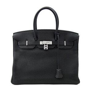 [HERMES] Hermes Birkin 35 Hand Einkaufstasche Schwarz Schwarz Silber Metallbeschläge Togo □ N Graviert [Gebraucht] RZG.K.