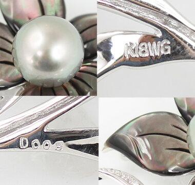 【ジュエリー】新品黒蝶南洋真珠クロチョウナンヨウパール11.3mmダイヤモンド0.05ctフラワー花ブローチK18WG【】
