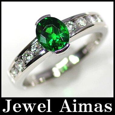 【ジュエリー】ツァボライト(ツボライト)グリーンガーネット(グリーングロッシュラーガーネット)ダイヤモンド0.34ctリングPT90012号<中央宝石>サイズ直し可【】
