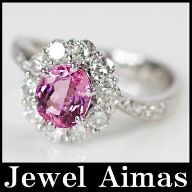 【ジュエリー】高品質結晶ピンクトパーズ(インペリアルトパーズ)1.53ctダイヤモンド0.9ctリングPT90012.5号【】
