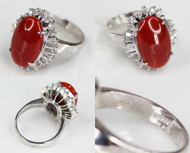 【ジュエリー】赤珊瑚赤サンゴ赤さんご10.9mmダイヤモンド0.23ctリング12号PT900【】