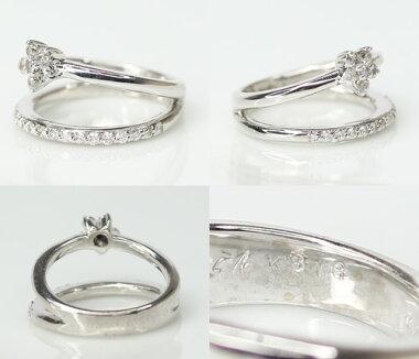【ジュエリー】ダイヤモンド0.26ctピンキーリング3号K18WG【】