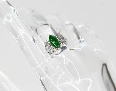 【ジュエリ】天然翡翠ヒスイひすいH10.3mm×W5.3mmダイヤモンド0.7ctリングPT90010号【】