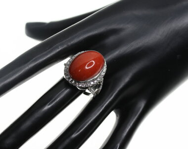 【ジュエリー】赤珊瑚赤サンゴ赤さんご19.34ctダイヤモンド1.125ctリング17.5号PT900【】