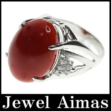 【ジュエリー】赤珊瑚赤サンゴ赤さんごH18.3mm×W13.4mmダイヤモンド0.27ctリング12号PT900【】