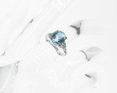 【ジュエリー】アクアマリン4.21ctダイヤモンド0.22ctリング7.5号PT900【】