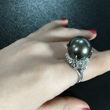 【ジュエリー】黒蝶真珠パール14.4mmダイヤモンド0.28ctリング11号PT900クロチョウ【】