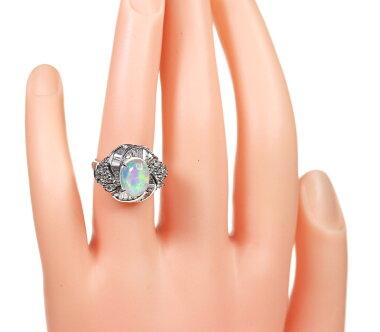 【ジュエリー】ウォーターオパール2.32ctダイヤモンド0.77ctリング7.5号PT900<遊色効果>【】