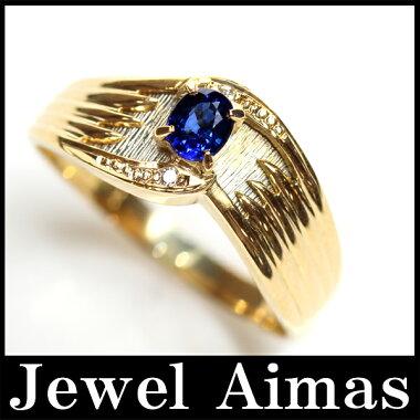 【ジュエリー】ブルーサファイア0.28ctダイヤモンド2Pリング13.5号K18YG/PT900【】