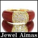 【ジュエリー】ダイヤモンド 0.63ct 赤メノウ フィリピンデザイン リング 15号 K18YG【中古】ZPM